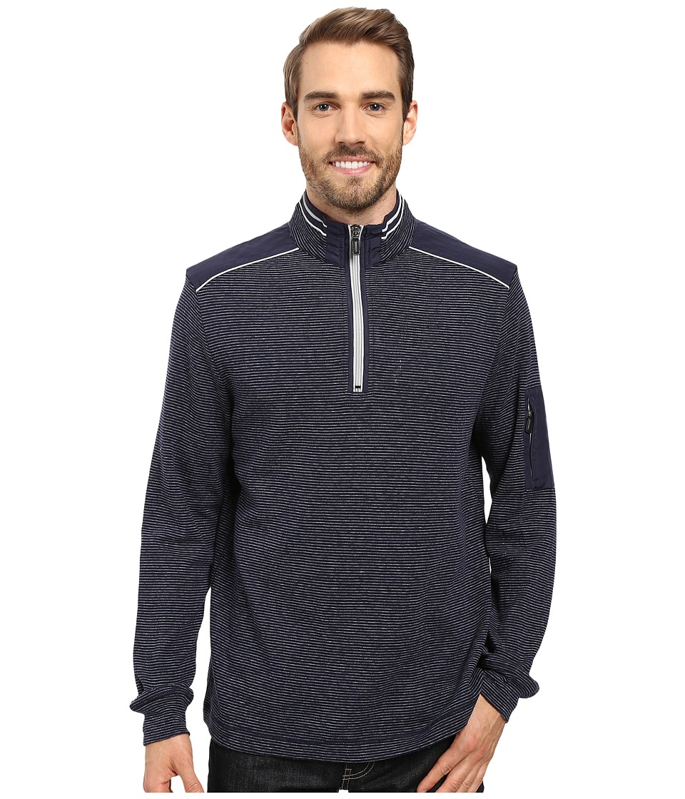 BUGATCHI - Cosmo Long Sleeve 1/4 Zip Knit Shirt (Navy) Men's Long Sleeve Pullover