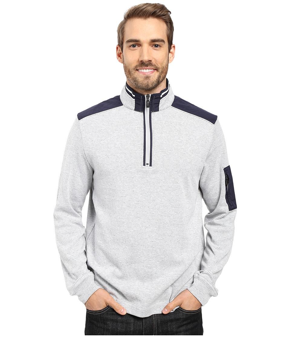 BUGATCHI - Amato Long Sleeve 1/4 Zip Knit Shirt (White) Men's Long Sleeve Pullover