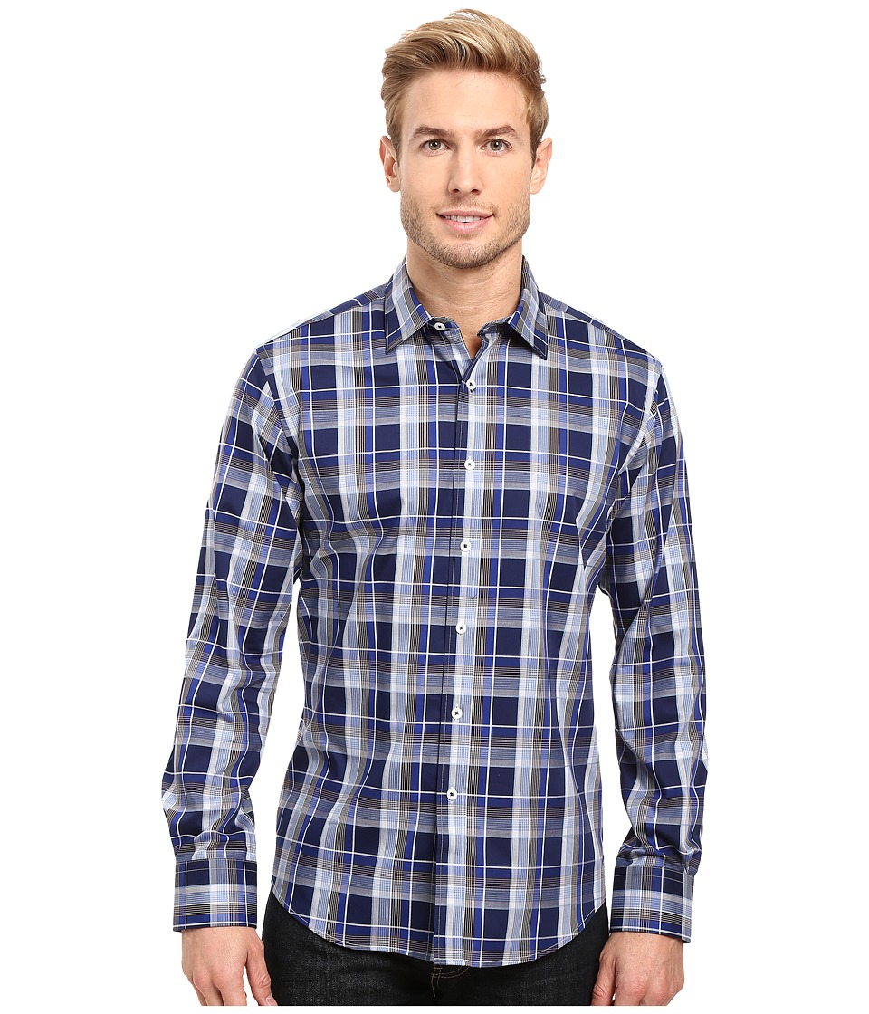 BUGATCHI - Filipo Long Sleeve Woven Shirt (Navy) Men's Long Sleeve Button Up