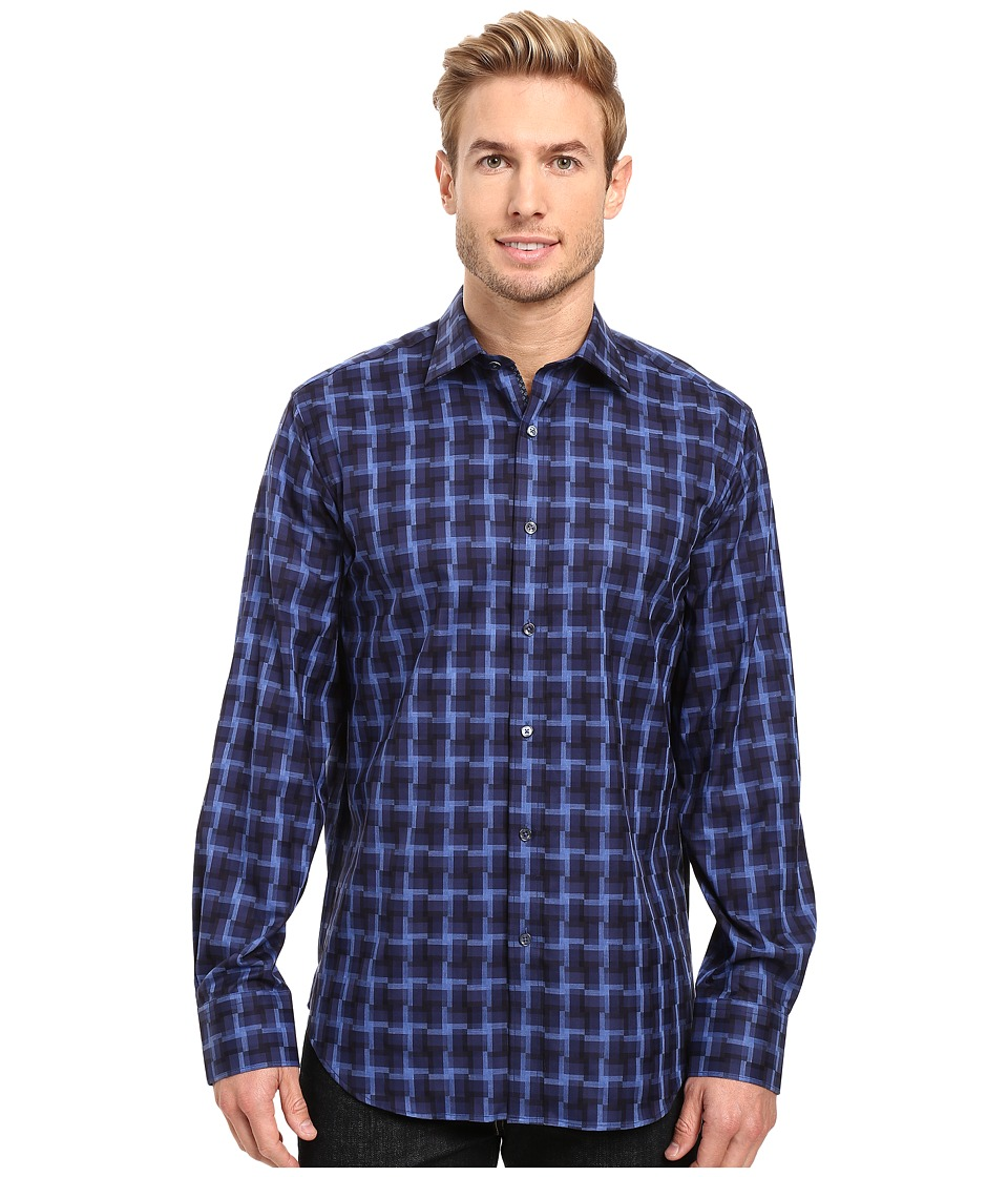 BUGATCHI - Enrico Long Sleeve Woven Shirt (Navy) Men's Long Sleeve Button Up