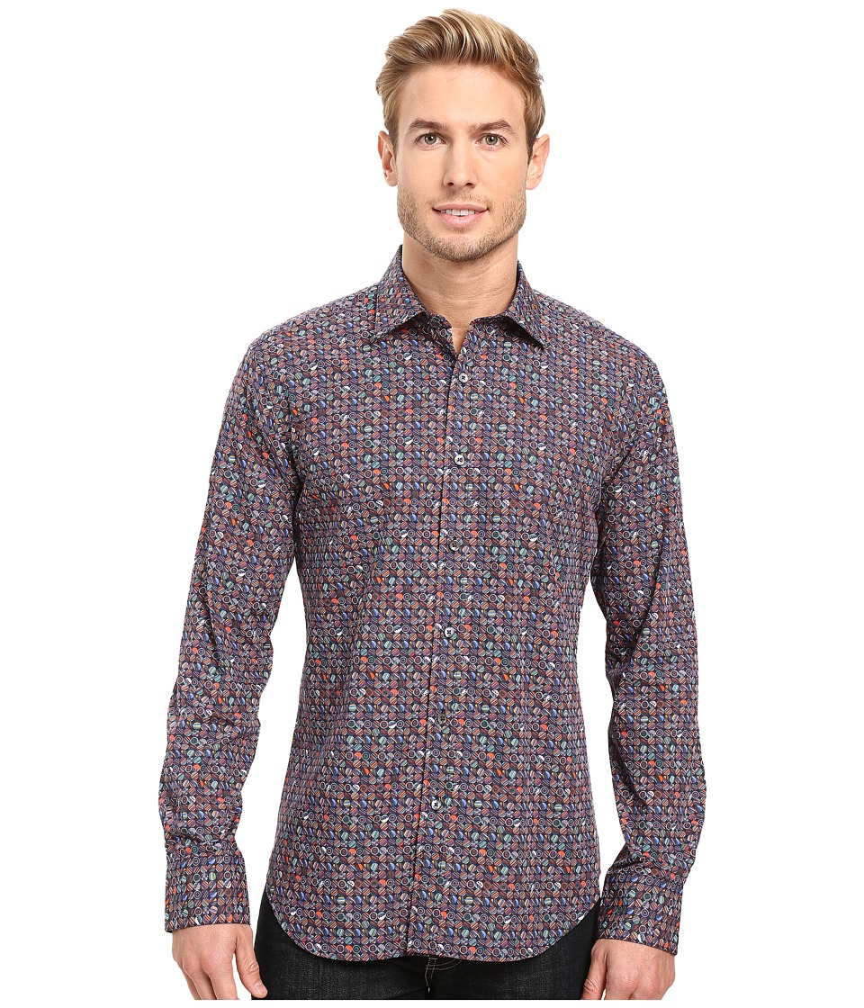BUGATCHI - Colombo Long Sleeve Woven Shirt (Black) Men's Long Sleeve Button Up