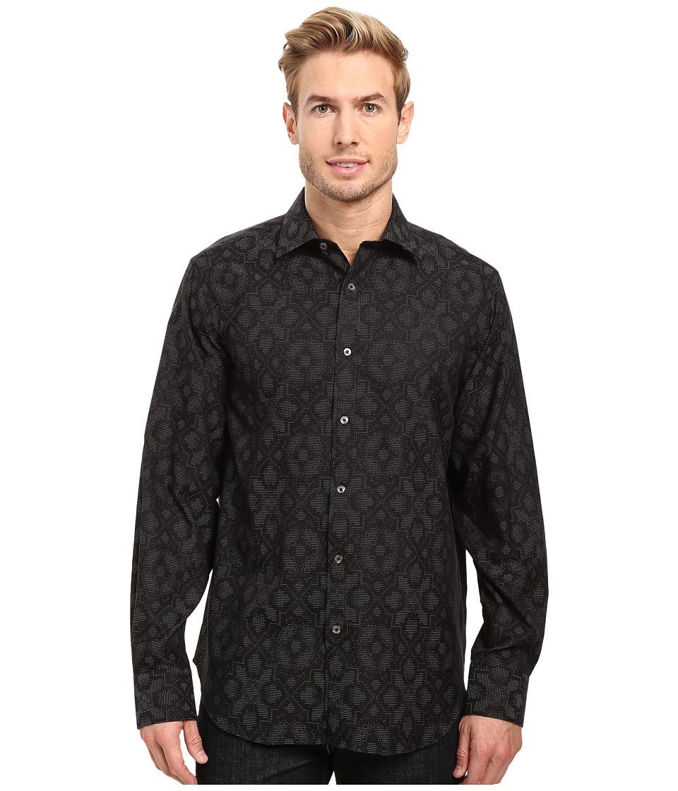 BUGATCHI - Elba Long Sleeve Woven Shirt (Black) Men's Long Sleeve Button Up