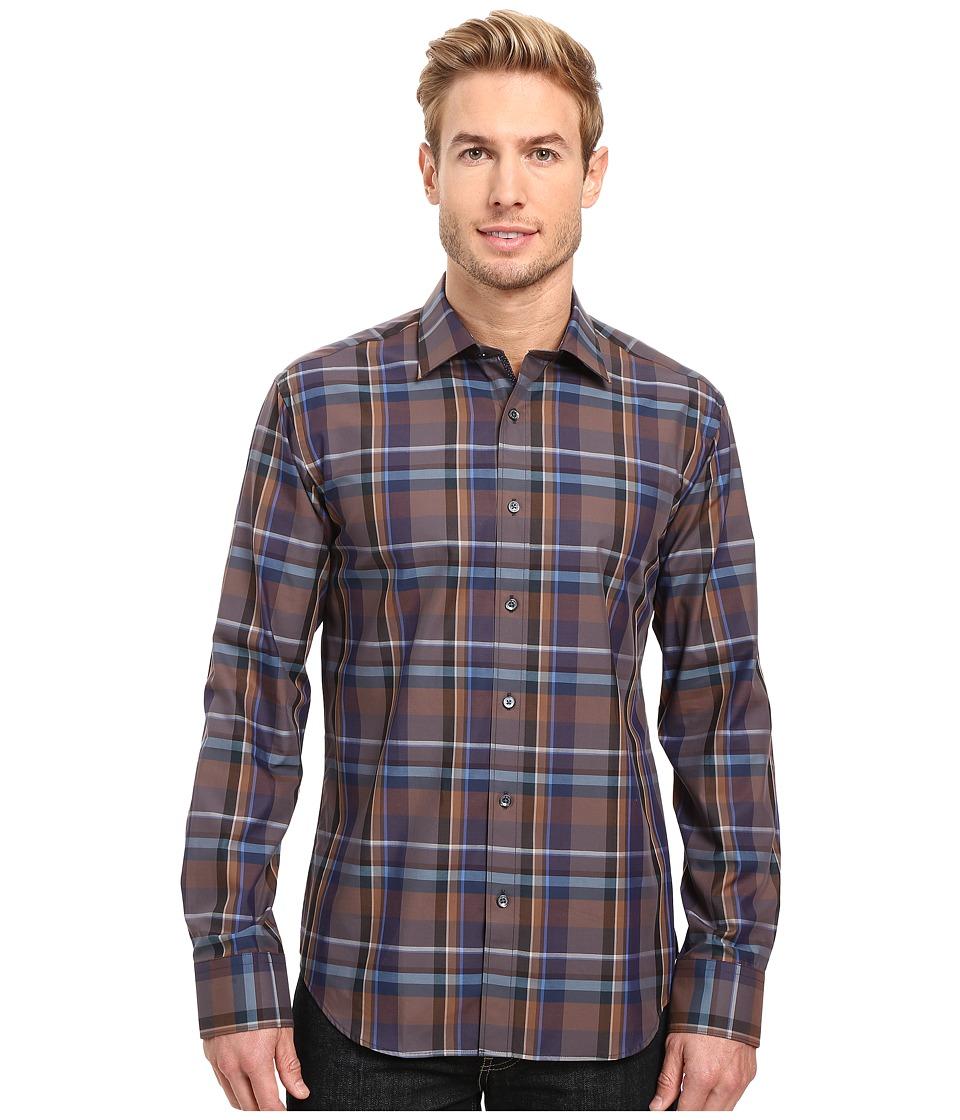 BUGATCHI - Dino Long Sleeve Woven Shirt (Truffle) Men's Long Sleeve Button Up