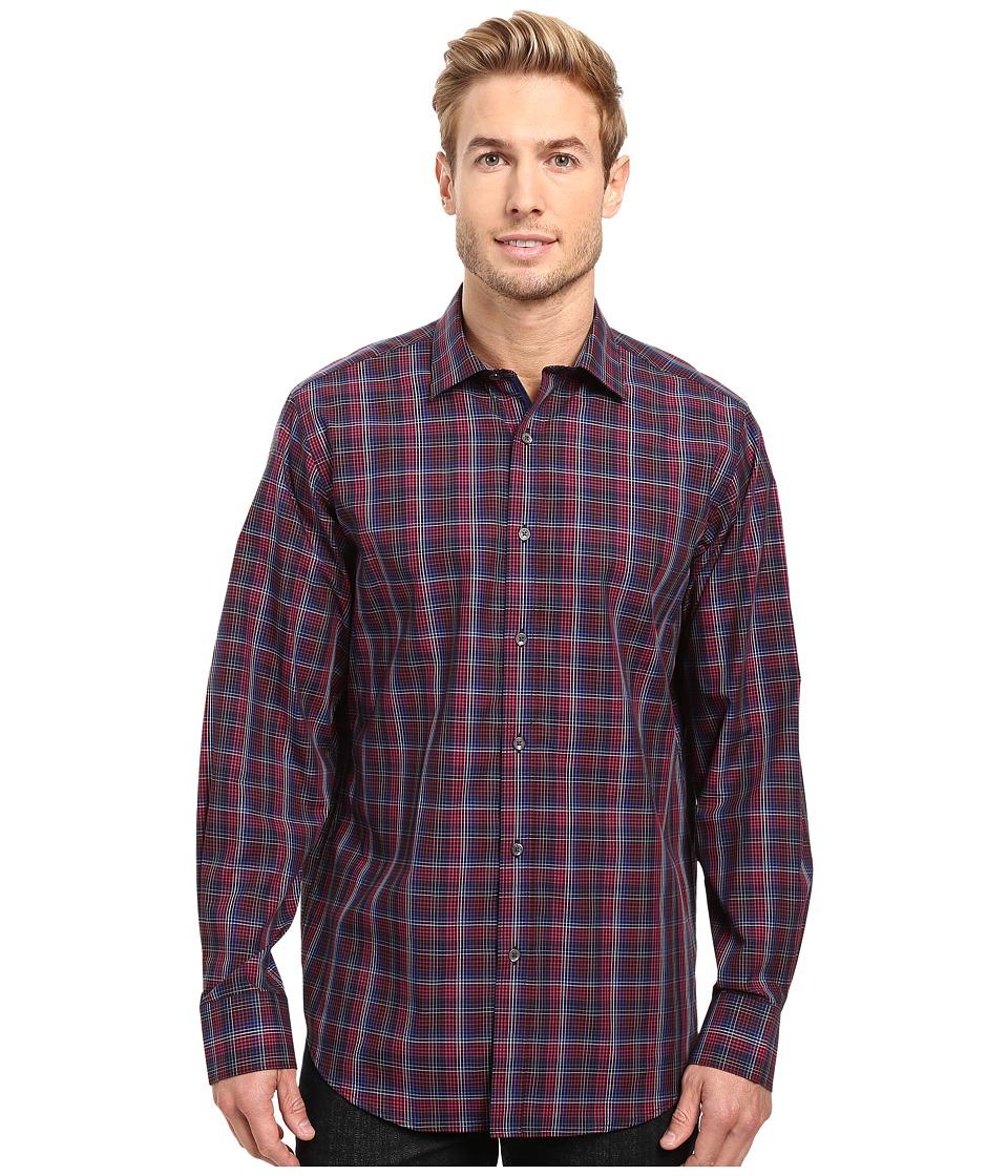 BUGATCHI - Lino Long Sleeve Woven Shirt (Black) Men's Long Sleeve Button Up