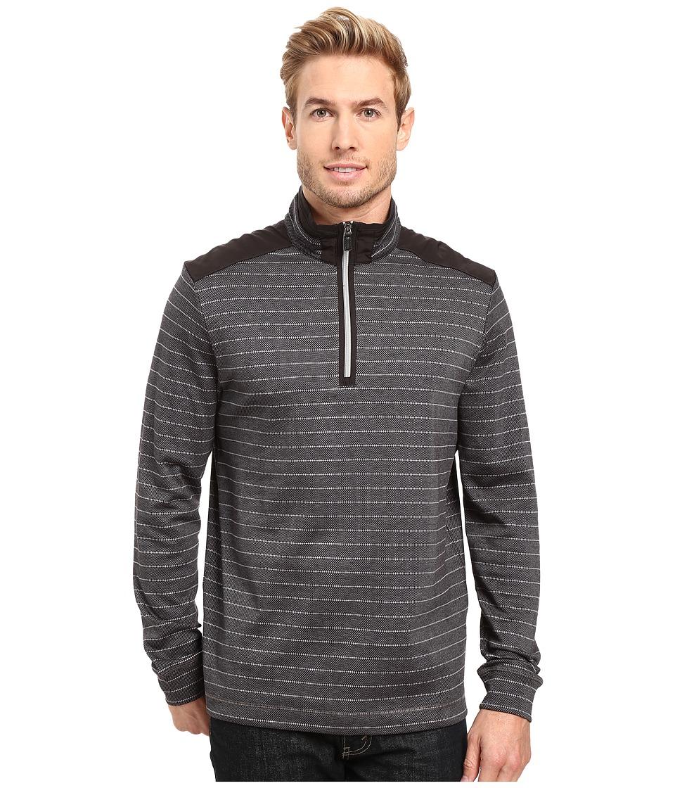 BUGATCHI - Gino Long Sleeve 1/4 Zip Knit Shirt (Black) Men's Long Sleeve Pullover