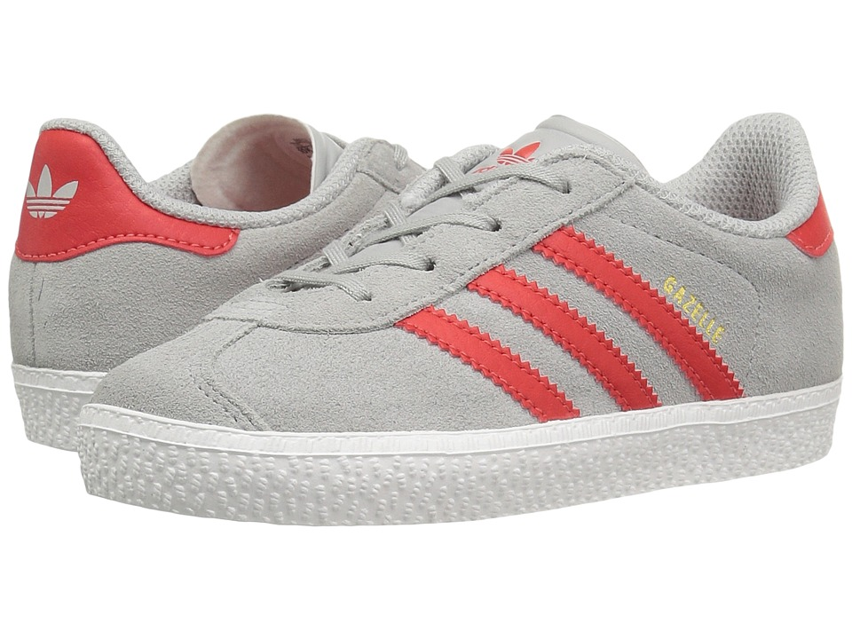 adidas Originals Kids - Gazelle (Toddler) (Clear Onix/Red/Gold) Kids Shoes