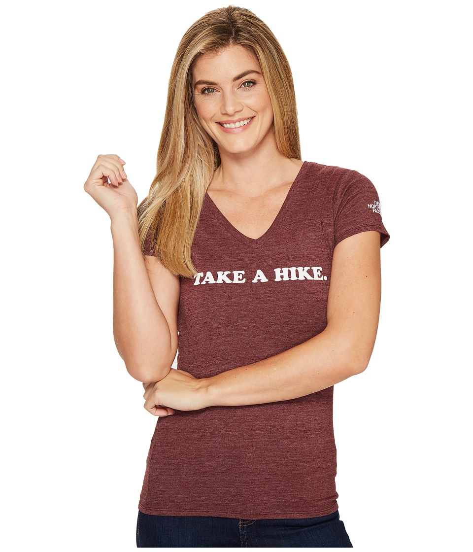 The North Face - Short Sleeve Take a Hike V-Neck Tri-Blend Tee (Deep Garnet Red Heather (Prior Season)) Women's T Shirt