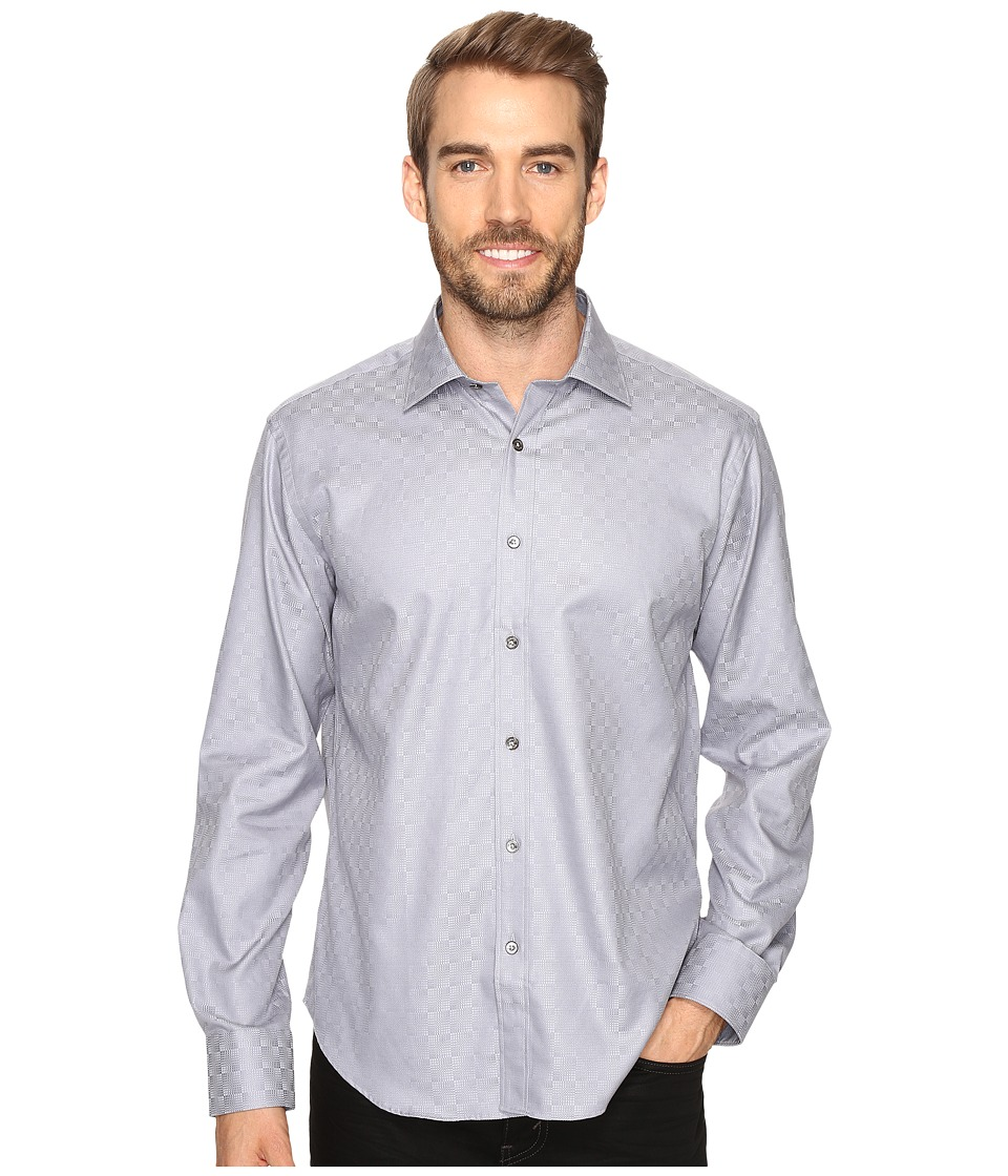 BUGATCHI - Lando Long Sleeve Woven Shirt (Graphite) Men's Long Sleeve Button Up