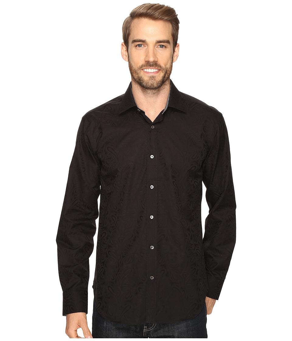 BUGATCHI - Italo Long Sleeve Woven Shirt (Black) Men's Long Sleeve Button Up