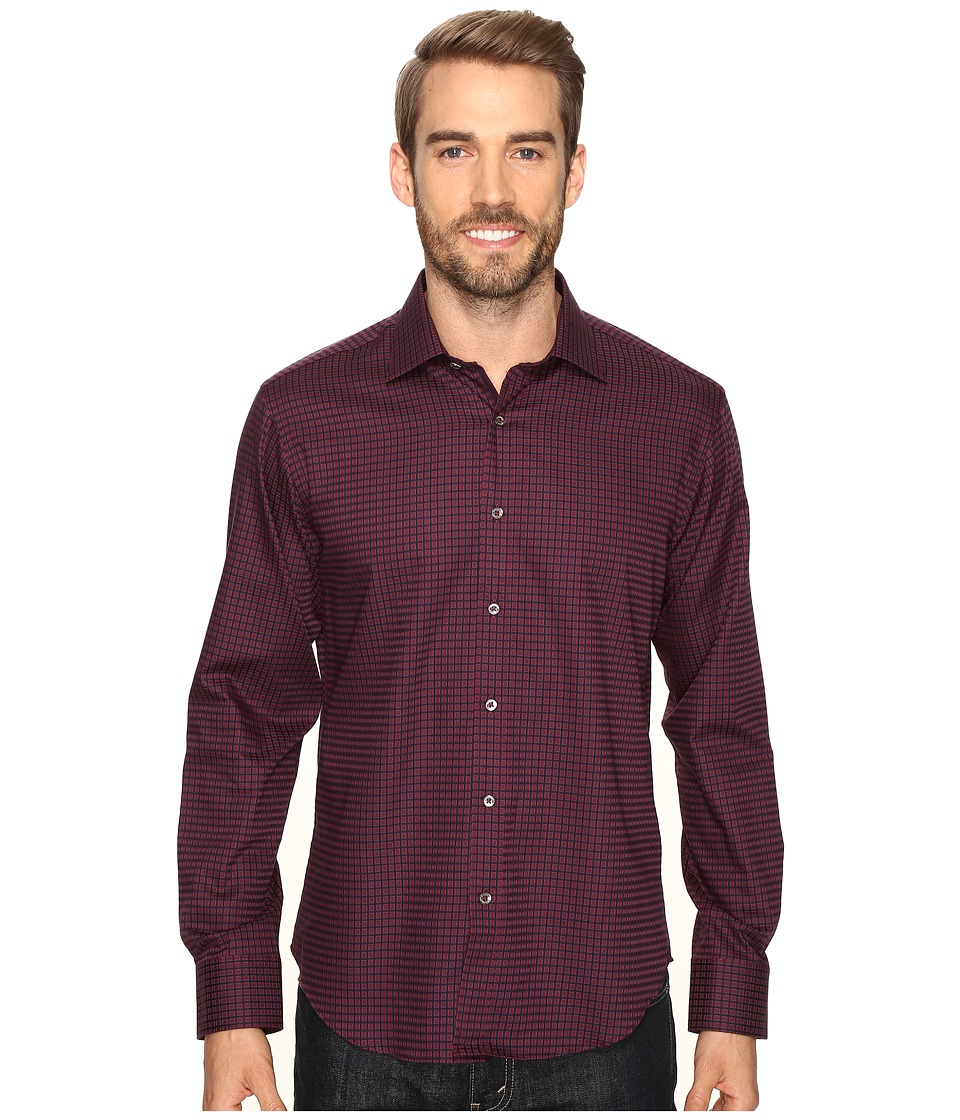 BUGATCHI - Matteo Long Sleeve Woven Shirt (Ruby) Men's Long Sleeve Button Up