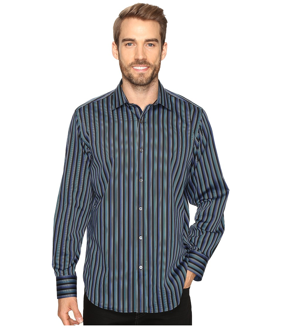 BUGATCHI - Gerardo Long Sleeve Woven Shirt (Teal) Men's Long Sleeve Button Up