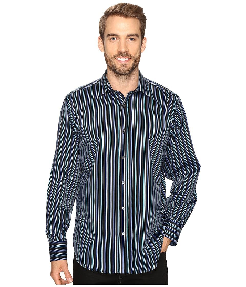BUGATCHI - Gerardo Long Sleeve Woven Shirt (Teal) Men's Long Sleeve Button Up
