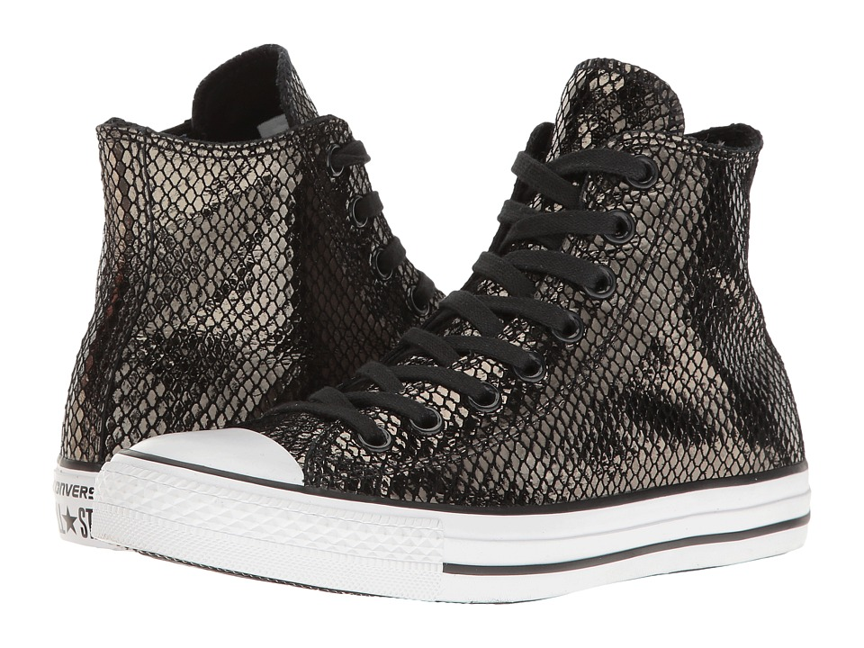 Converse - Chuck Taylor All Star Metallic Snake Hi (Black/Black/White) Women's Shoes