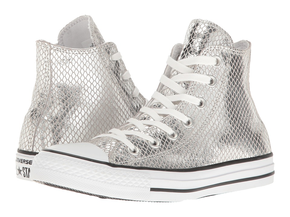 Converse - Chuck Taylor All Star Metallic Snake Hi (Silver/Black/White) Women's Shoes