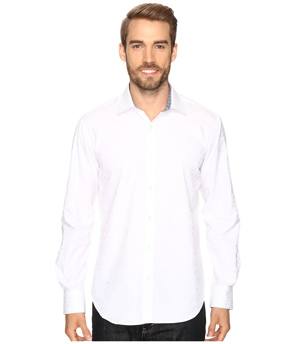 BUGATCHI - Luigi Long Sleeve Woven Shirt (White) Men's Long Sleeve Button Up
