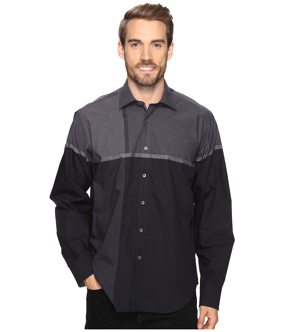 BUGATCHI - Maceo Long Sleeve Woven Shirt (Graphite) Men's Long Sleeve Button Up