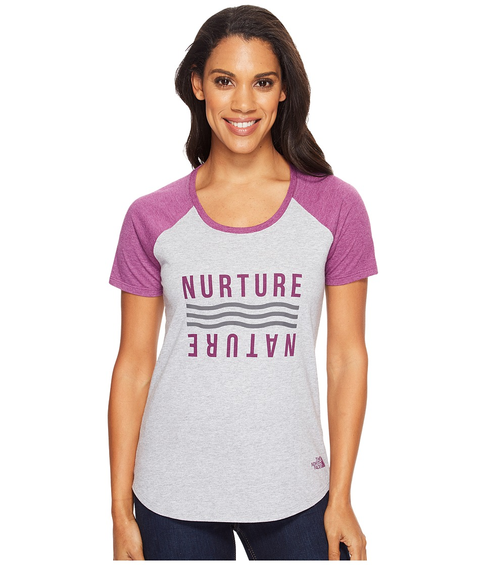 The North Face - Short Sleeve Nurture Baseball Tee (TNF Light Grey Heather/Wood Violet Heather (Prior Season)) Women's T Shirt
