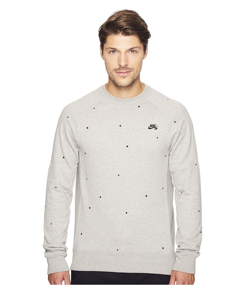Nike SB - SB Everett Geo Crew Top (Dark Grey Heather/Black) Men's Long Sleeve Pullover