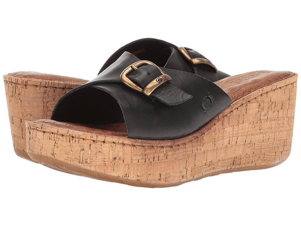 Born - Araya (Black Full Grain) Women's Wedge Shoes
