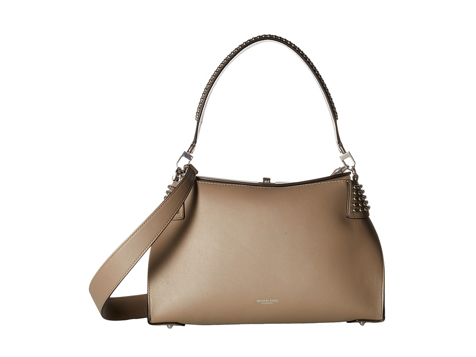 Michael Kors - Miranda Lg Top Lock Shldr (Dark Taupe/Studs) Handbags