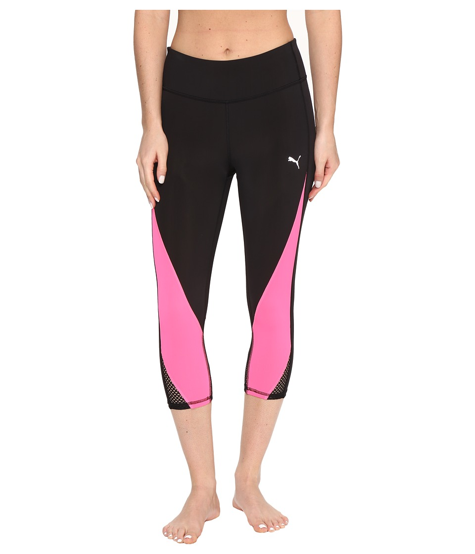 PUMA - Explosive 3/4 Tights (Puma Black/Knockout Pink) Women's Capri