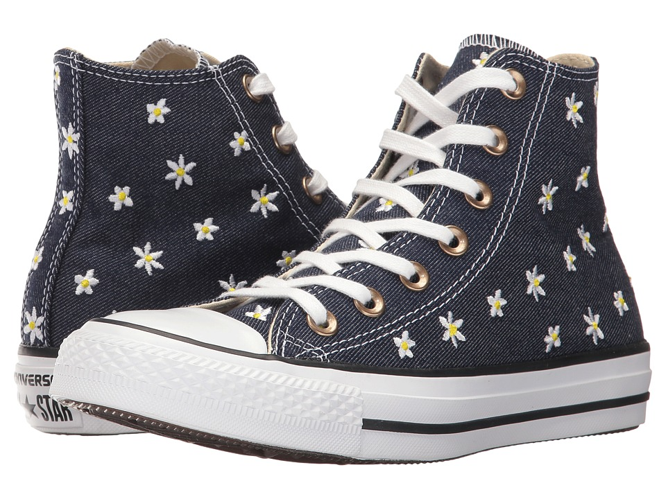 Converse - Chuck Taylor(r) All Star(r) II Denim Floral Hi (Navy/Fresh Yellow/White) Women's Classic Shoes