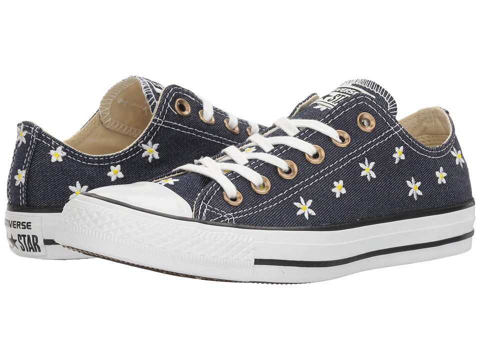 Converse - Chuck Taylor All Star Denim Floral Ox (Navy/Fresh Yellow/White) Women's Classic Shoes