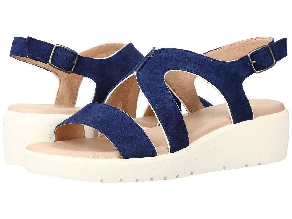 Johnston & Murphy - Cora (Dark Blue Italian Kid Suede/White Patent Trim) Women's Sandals