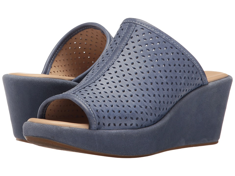 Johnston & Murphy - Delaney (Blue Italian Waxy Leather) Women's Wedge Shoes