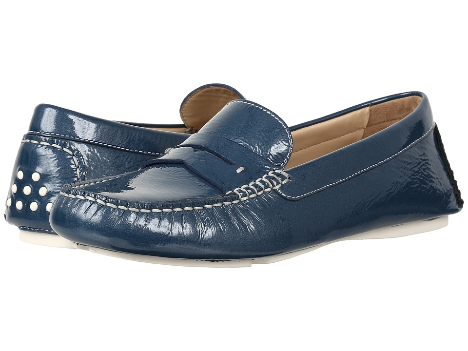 Johnston & Murphy Maggie Penny (Blue Italian Soft Patent Leather) Women