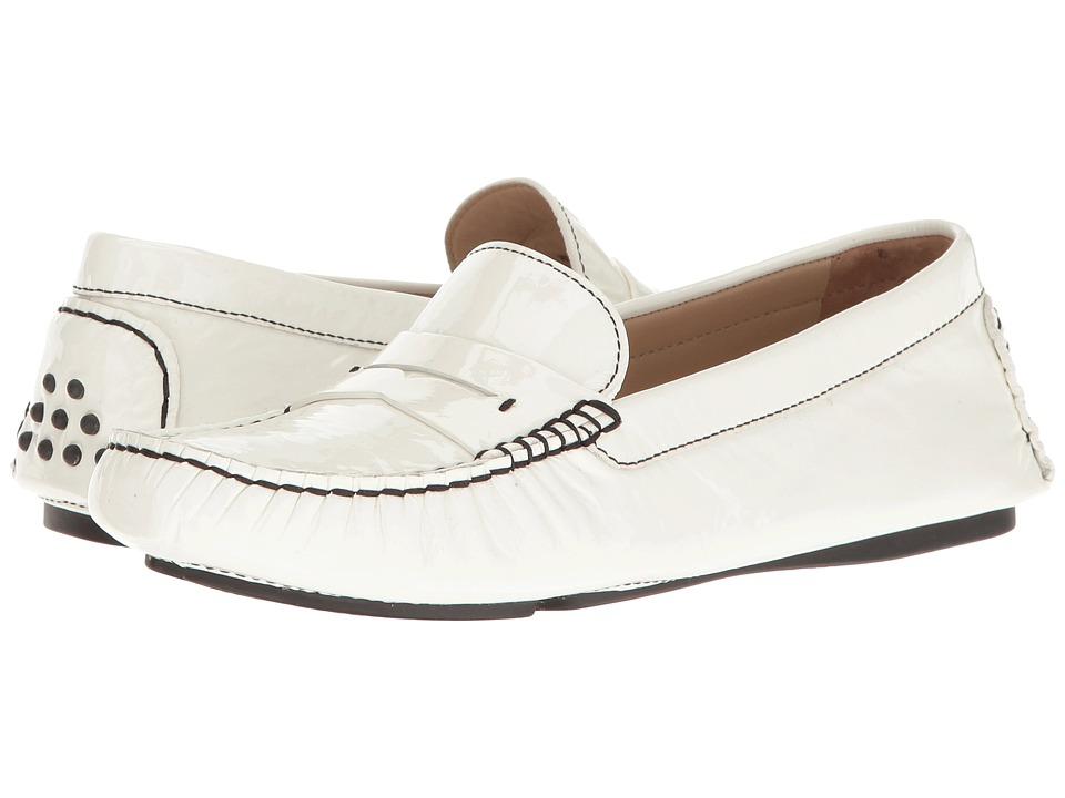 Johnston & Murphy - Maggie Penny (White Italian Soft Patent Leather) Women's Dress Flat Shoes