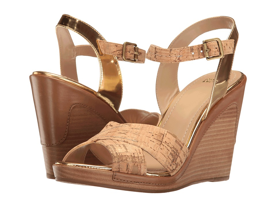Johnston & Murphy - Maren (Natural Cork/Gold Mirrored Metallic Leather Trim) Women's Wedge Shoes