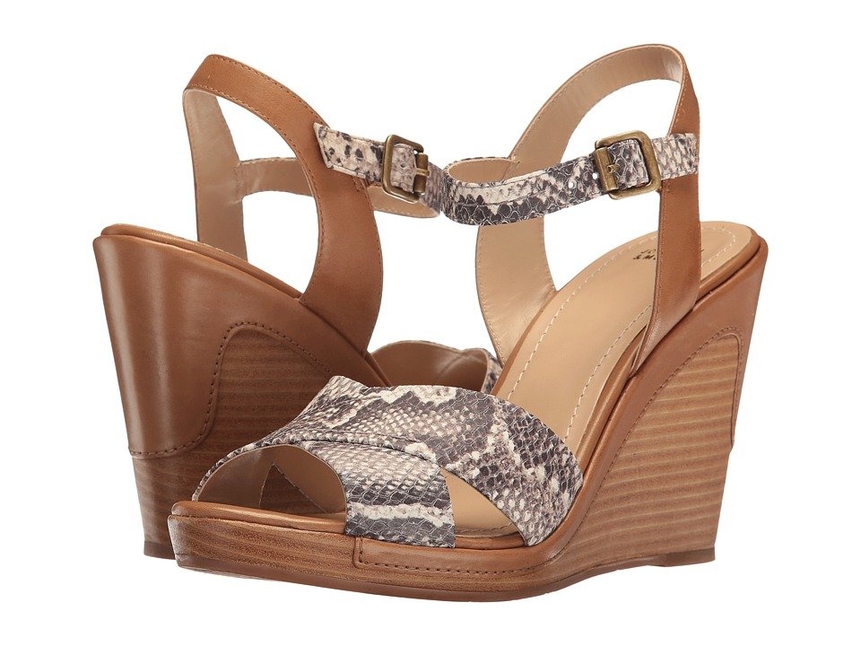 Johnston & Murphy - Maren (Natural Snake Print Italian Leather/Tan Leather Trim) Women's Wedge Shoes