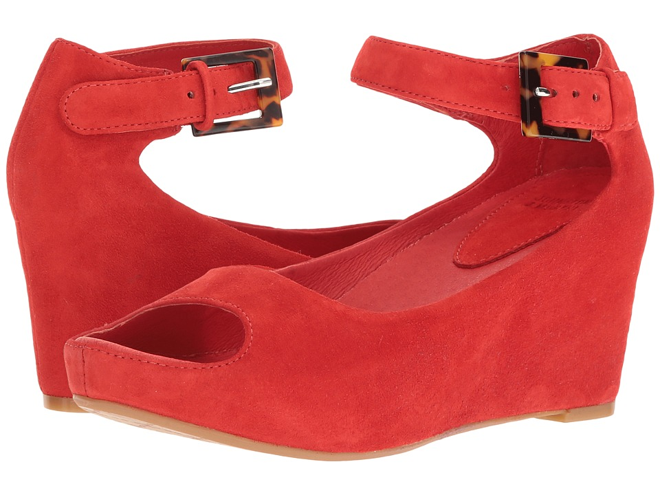 Johnston & Murphy Tricia Ankle Strap (Flamingo Red Italian Kid Suede) Women