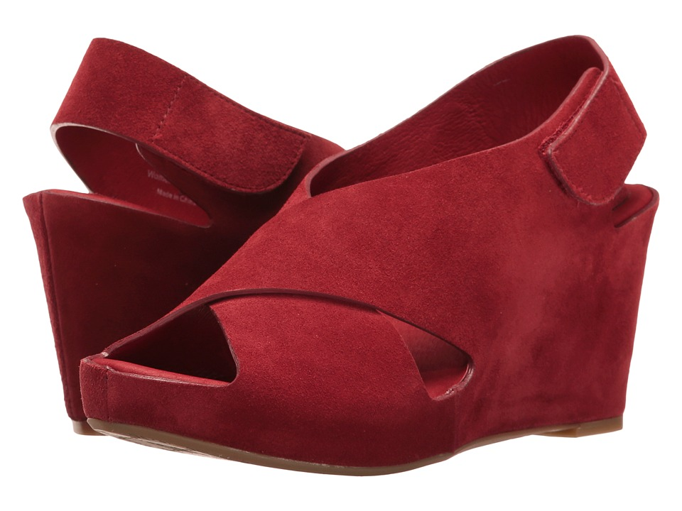 Johnston & Murphy - Tori Cross Band Wedge (Red Suede) Women's Wedge Shoes