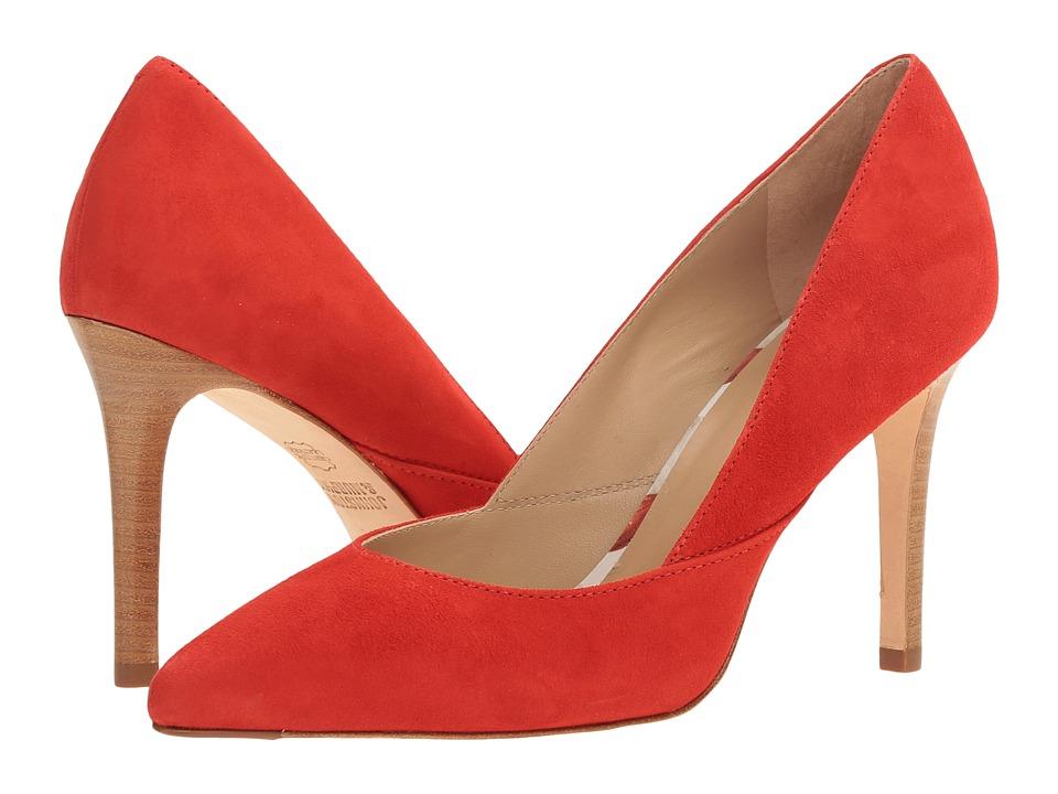 Johnston & Murphy - Vanessa Pump (Flamingo Red Italian Kid Suede) High Heels