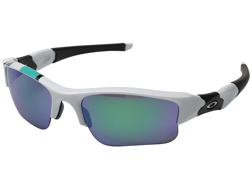 Oakley - MPH Flak Jacket XLJ (Polished White w/ Jade Iridium Polarized) Sport Sunglasses