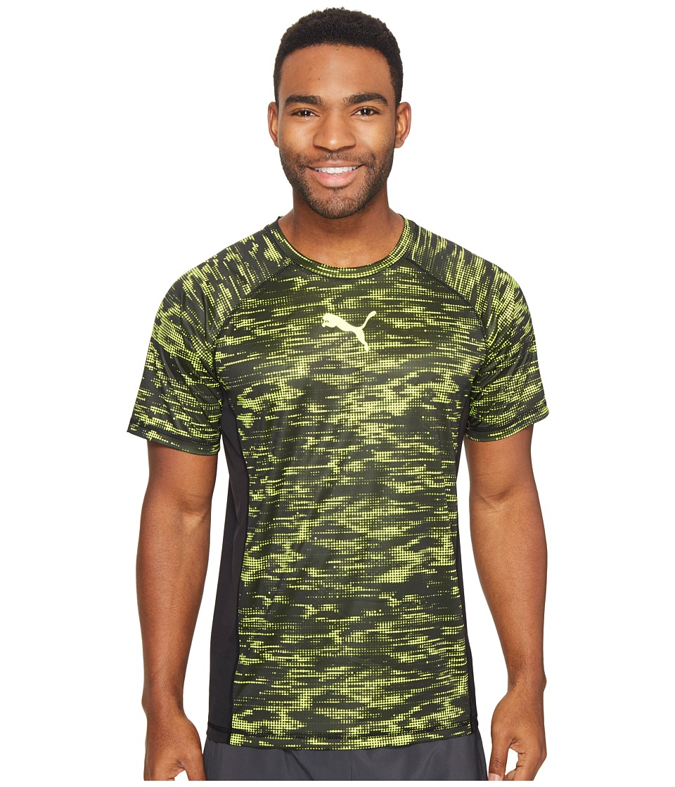 PUMA - Vent Short Sleeve Graphic Tee (Puma Black/Safety Yellow) Men's T Shirt