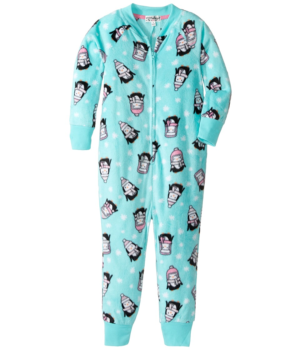 P.J. Salvage Kids - Penguin Squad One-Piece Pajama (Toddler/Little Kids/Big Kids) (Aqua) Girl's Jumpsuit & Rompers One Piece