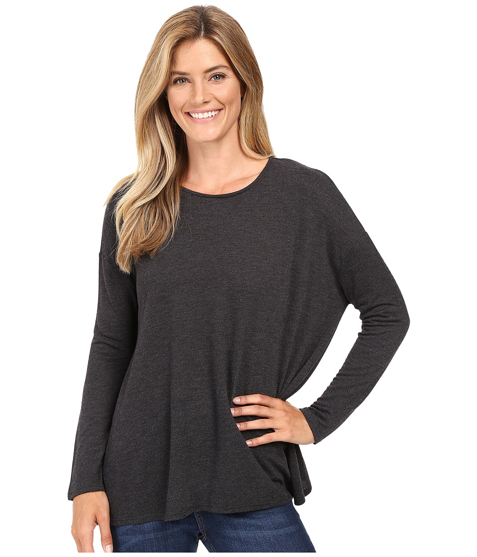 KUT from the Kloth - Nikki Draped Top (Charcoal Grey) Women's Long Sleeve Pullover