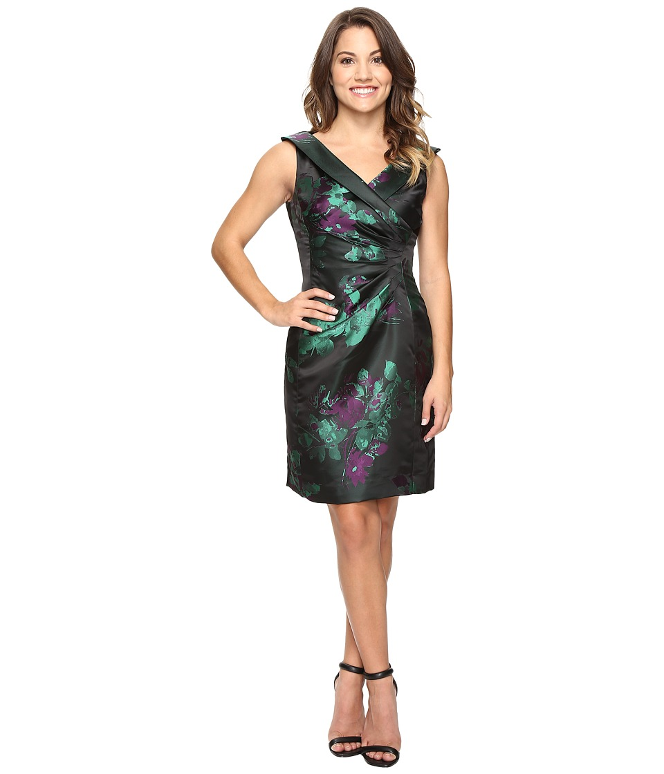 Tahari by ASL Petite - Petite Floral Print Side Ruche Sheath (Black/Emerald/Violet) Women's Dress