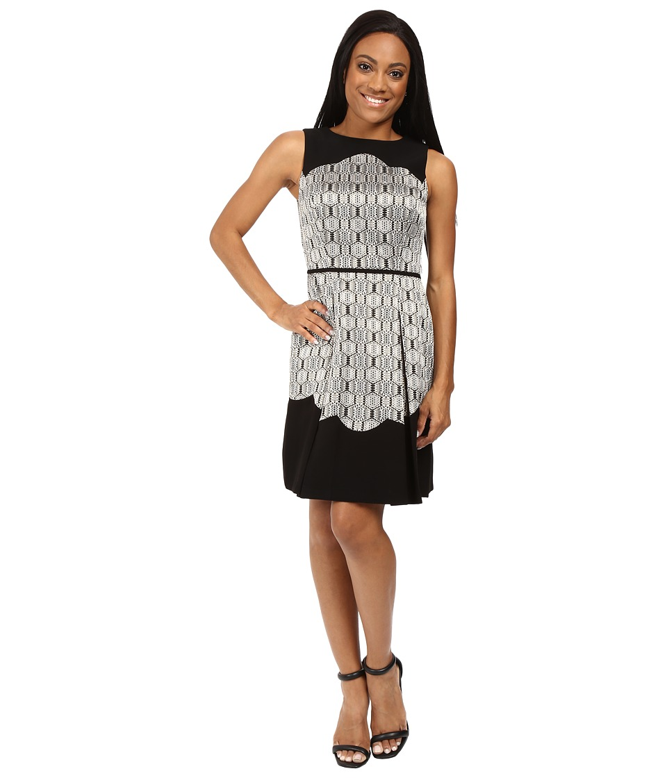 Tahari by ASL Petite Petite Metallic Jacquard Fit and Flare with Scallop Detail (Black/Gold/Silver) Women
