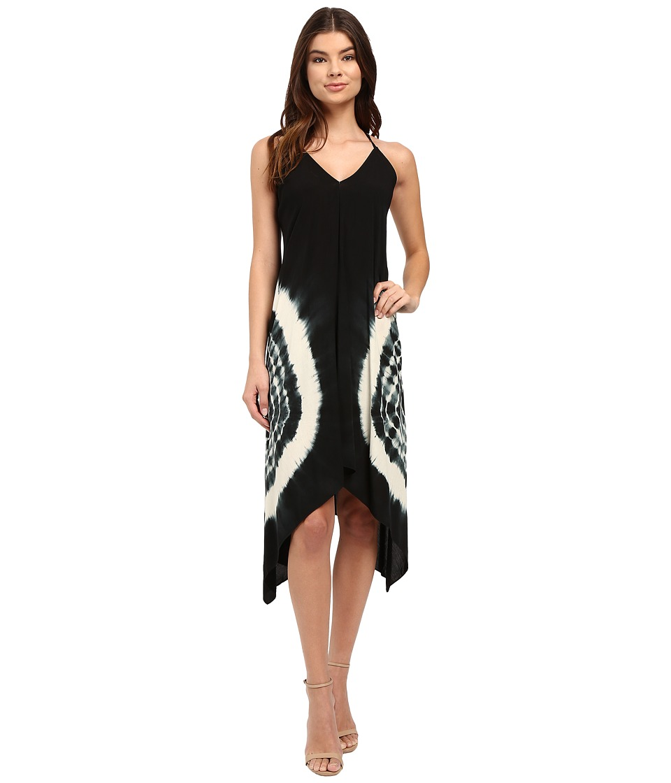 Brigitte Bailey - Brea Tie-Dye Spaghetti Strap Dress (Black/White) Women's Dress