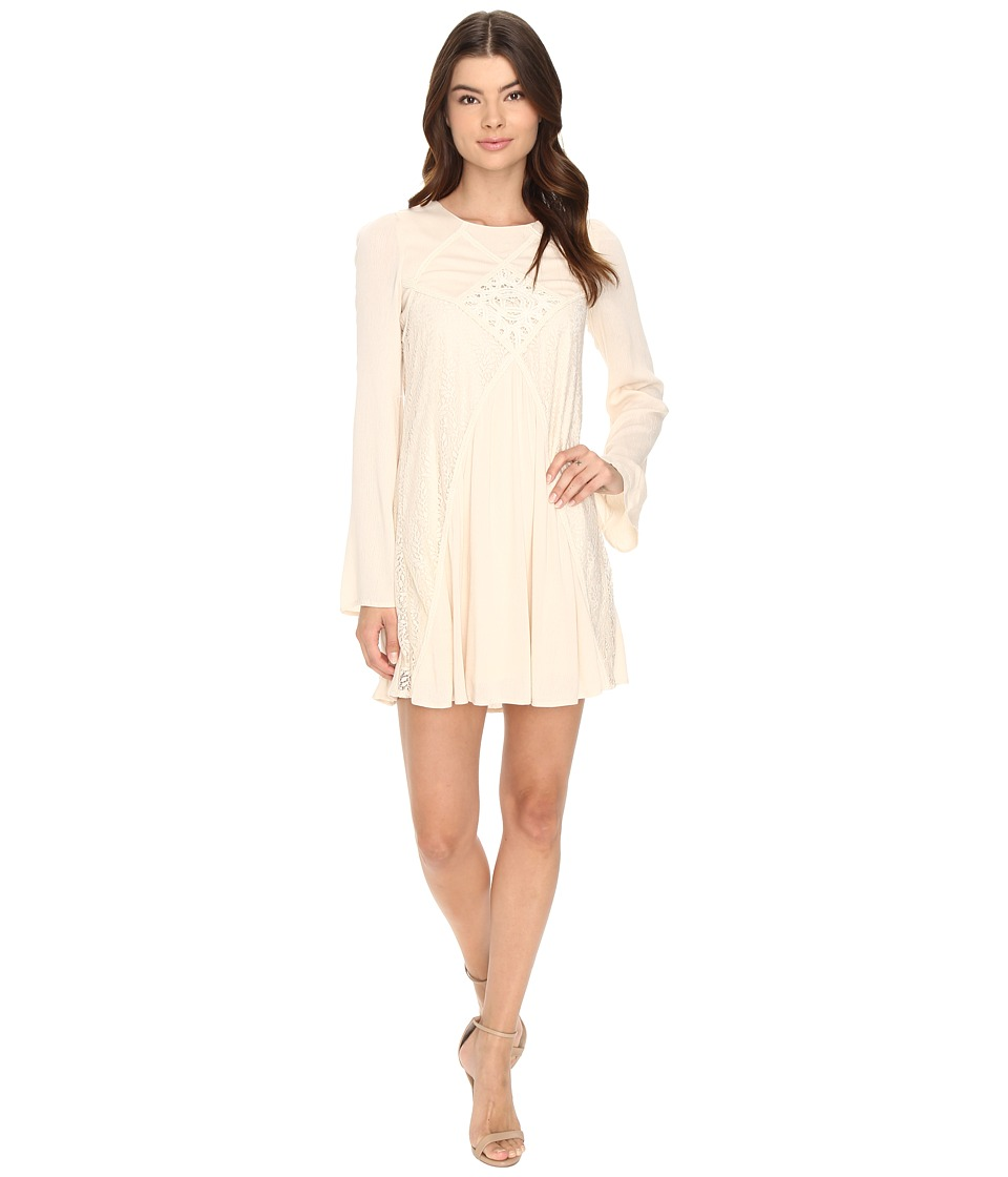 Brigitte Bailey - Naya Long Sleeve Dress with Lace Detail (Sand) Women's Dress