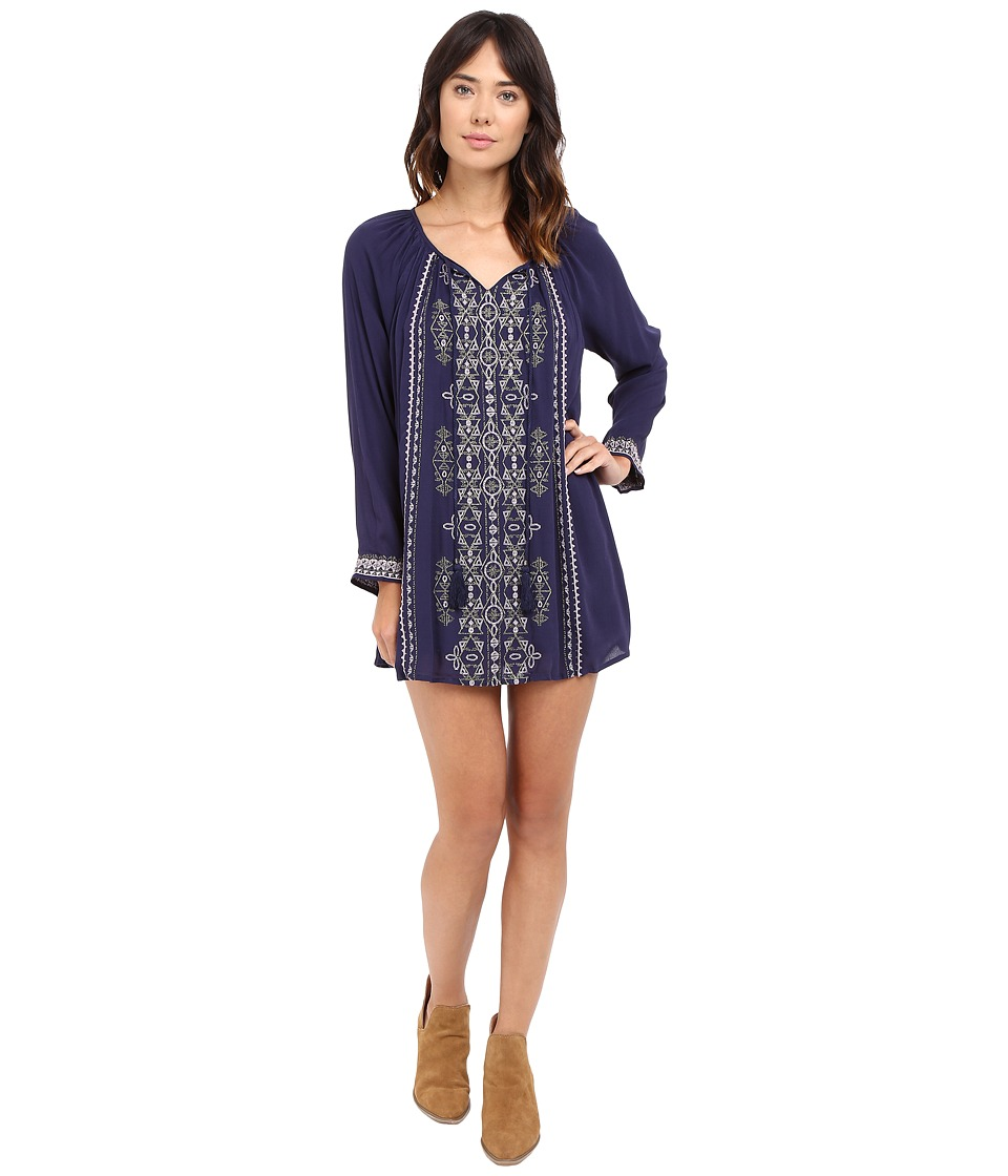 Brigitte Bailey - Lyna Dress with Embroidery and Tassel Tie (Navy) Women's Dress