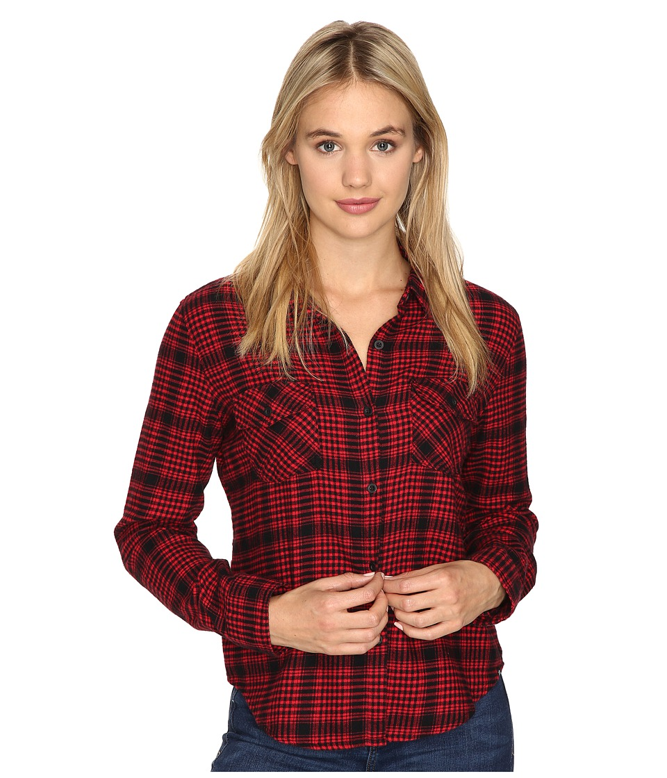 Volcom - Lodge Life Long Sleeve Top (Scarlet) Women's Long Sleeve Button Up