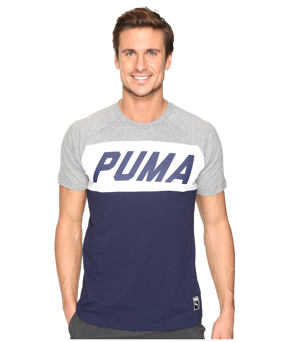 PUMA - Color Block Tee (Medium Gray Heather) Men's T Shirt