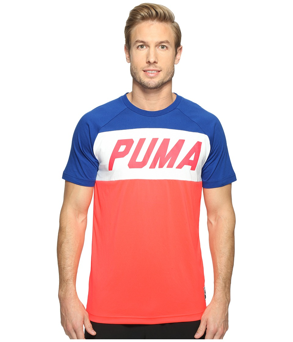 PUMA - Color Block Tee (Bright Plasma) Men's T Shirt