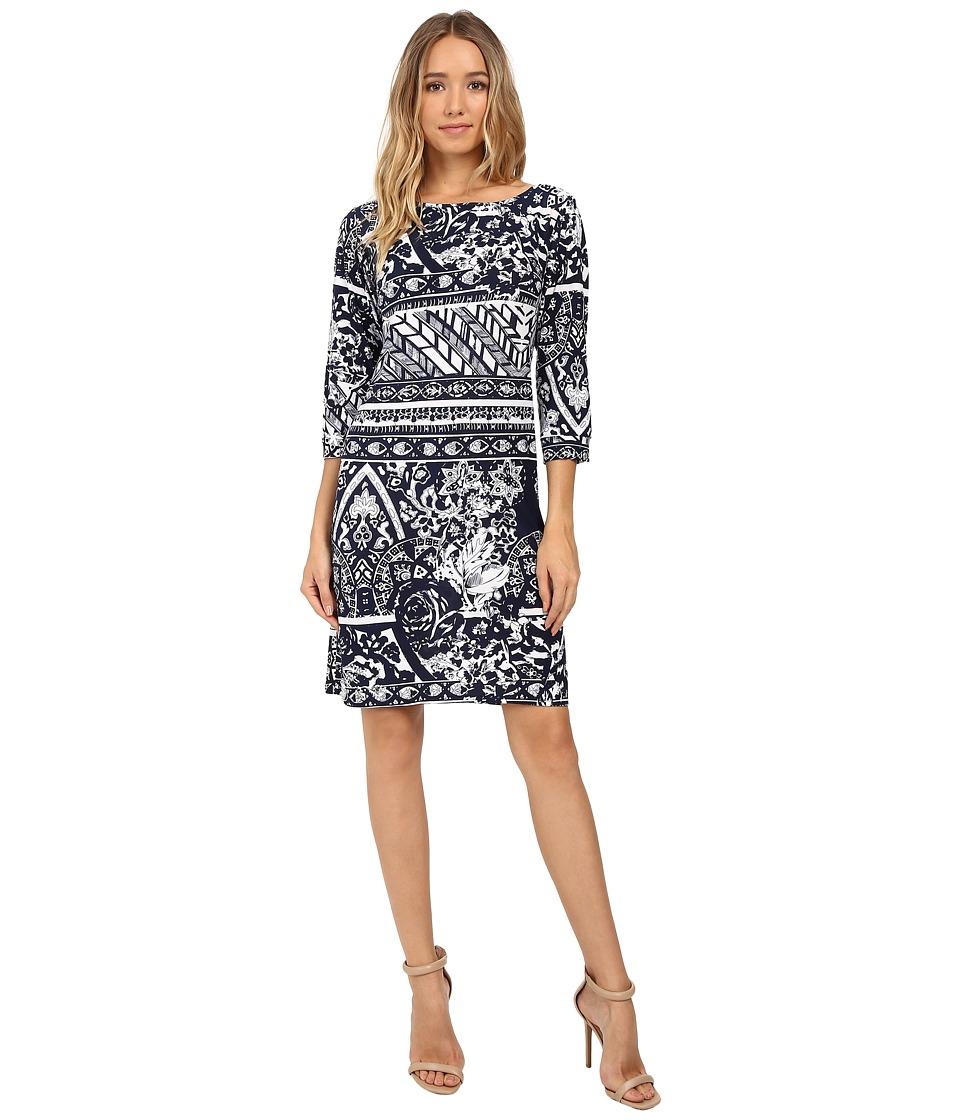 Christin Michaels - Zula Long Sleeve Shift Dress (Navy/White) Women's Dress