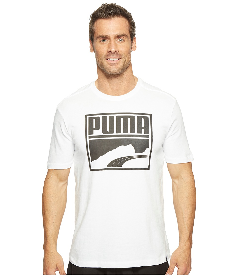 PUMA - Contrast Suede Tee (Puma White/Black) Men's T Shirt